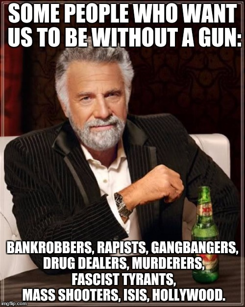No Guns for Victims! | SOME PEOPLE WHO WANT US TO BE WITHOUT A GUN: BANKROBBERS, RAPISTS, GANGBANGERS, DRUG DEALERS, MURDERERS, FASCIST TYRANTS, MASS SHOOTERS, ISI | image tagged in memes,the most interesting man in the world,gun control,drug dealer,hollywood,murderer | made w/ Imgflip meme maker