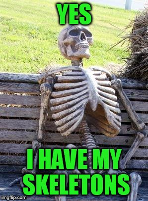 Waiting Skeleton Meme | YES I HAVE MY SKELETONS | image tagged in memes,waiting skeleton | made w/ Imgflip meme maker