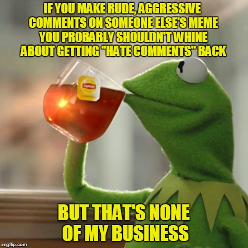 "But Thats None Of My Business Meme | IF YOU MAKE RUDE, AGGRESSIVE COMMENTS ON SOMEONE ELSE'S MEME YOU PROBABLY SHOULDN'T WHINE ABOUT GETTING ""HATE COMMENTS"" BACK BUT THAT'S NONE 