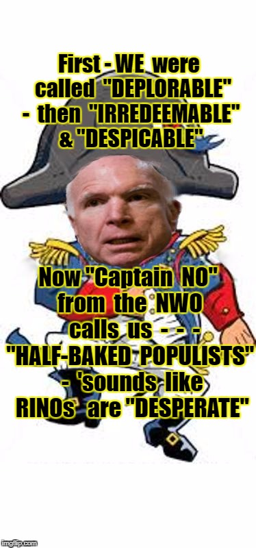 "First - WE  were  called  ""DEPLORABLE"" -  then  ""IRREDEEMABLE"" & ""DESPICABLE"" Now ""Captain  NO""  from  the  NWO    calls  us  -  -  - ""HALF- 