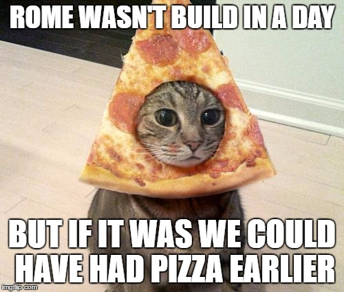 pizza cat | ROME WASN'T BUILD IN A DAY BUT IF IT WAS WE COULD HAVE HAD PIZZA EARLIER | image tagged in pizza cat | made w/ Imgflip meme maker