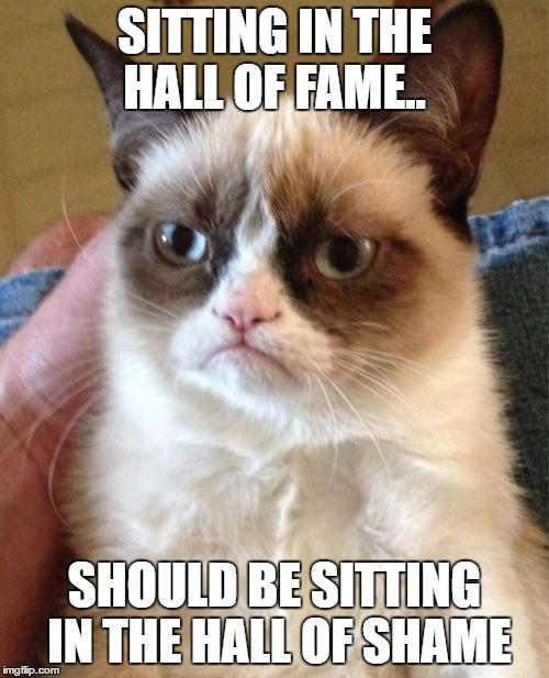 Grumpy Cat Meme | SITTING IN THE HALL OF FAME.. SHOULD BE SITTING IN THE HALL OF SHAME | image tagged in memes,grumpy cat | made w/ Imgflip meme maker
