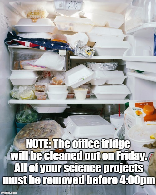 Dirty Fridge | NOTE: The office fridge will be cleaned out on Friday. All of your science projects must be removed before 4:00pm | image tagged in dirty fridge,work fridge,dirty,science,nasty,clean | made w/ Imgflip meme maker