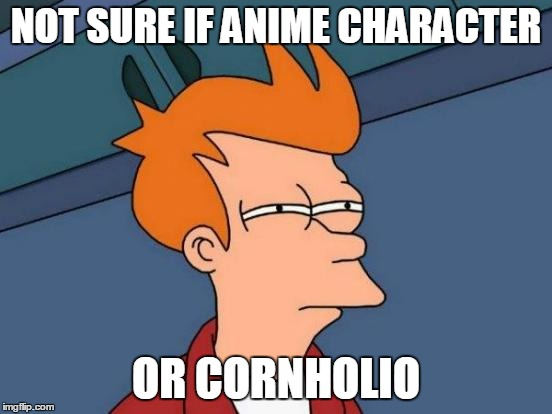 Futurama Fry Meme | NOT SURE IF ANIME CHARACTER OR CORNHOLIO | image tagged in memes,futurama fry | made w/ Imgflip meme maker