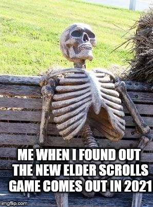 Waiting Skeleton Meme | ME WHEN I FOUND OUT THE NEW ELDER SCROLLS GAME COMES OUT IN 2021 | image tagged in memes,waiting skeleton | made w/ Imgflip meme maker