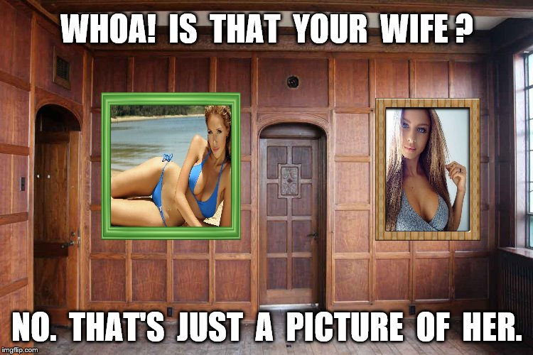 That's not my wife | WHOA!  IS  THAT  YOUR  WIFE ? NO.  THAT'S  JUST  A  PICTURE  OF  HER. | image tagged in memes,sexy woman,husband wife,funny | made w/ Imgflip meme maker