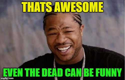 Yo Dawg Heard You Meme | THATS AWESOME EVEN THE DEAD CAN BE FUNNY | image tagged in memes,yo dawg heard you | made w/ Imgflip meme maker
