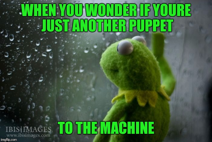 Depressed meme week | WHEN YOU WONDER IF YOURE JUST ANOTHER PUPPET TO THE MACHINE | image tagged in kermit window | made w/ Imgflip meme maker
