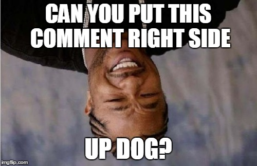 Yo Dawg Heard You Meme | CAN YOU PUT THIS COMMENT RIGHT SIDE UP DOG? | image tagged in memes,yo dawg heard you | made w/ Imgflip meme maker