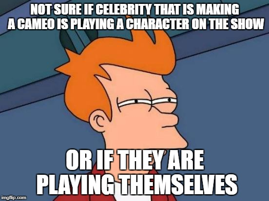 Futurama Fry Meme | NOT SURE IF CELEBRITY THAT IS MAKING A CAMEO IS PLAYING A CHARACTER ON THE SHOW OR IF THEY ARE PLAYING THEMSELVES | image tagged in memes,futurama fry,AdviceAnimals | made w/ Imgflip meme maker