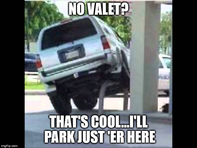 carpole | NO VALET? THAT'S COOL...I'LL PARK JUST 'ER HERE | image tagged in carpole | made w/ Imgflip meme maker