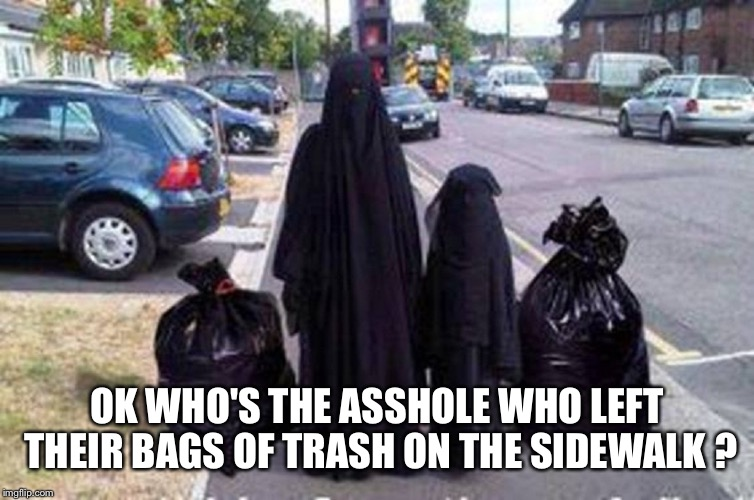 OK WHO'S THE ASSHOLE WHO LEFT THEIR BAGS OF TRASH ON THE SIDEWALK ? | image tagged in muslim trash | made w/ Imgflip meme maker