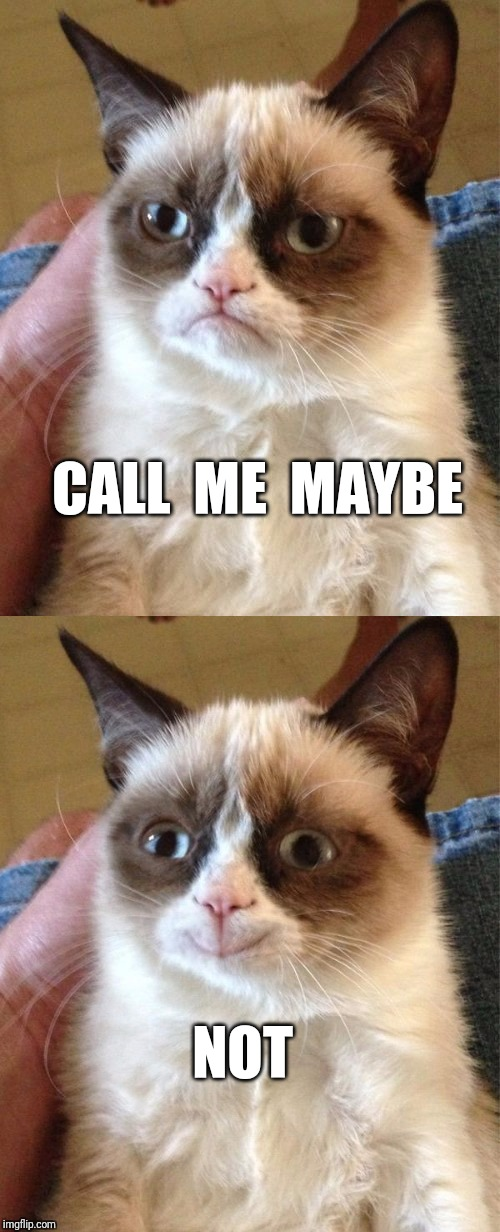 Grumpy Cat |  CALL  ME  MAYBE; NOT | image tagged in call me maybe,carly rae jepsen,grumpy cat | made w/ Imgflip meme maker