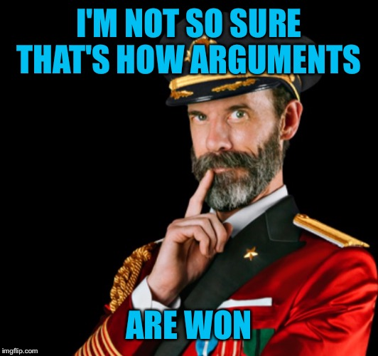 Captain obvious | I'M NOT SO SURE THAT'S HOW ARGUMENTS ARE WON | image tagged in captain obvious | made w/ Imgflip meme maker