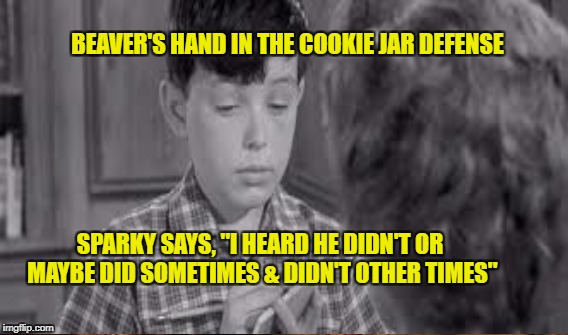 "Sparky and the Beaver | BEAVER'S HAND IN THE COOKIE JAR DEFENSE SPARKY SAYS, ""I HEARD HE DIDN'T OR MAYBE DID SOMETIMES & DIDN'T OTHER TIMES"" 