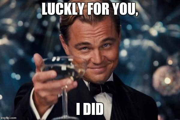 Leonardo Dicaprio Cheers Meme | LUCKLY FOR YOU, I DID | image tagged in memes,leonardo dicaprio cheers | made w/ Imgflip meme maker