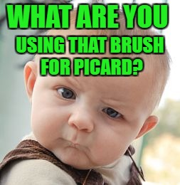Skeptical Baby Meme | WHAT ARE YOU USING THAT BRUSH FOR PICARD? | image tagged in memes,skeptical baby | made w/ Imgflip meme maker