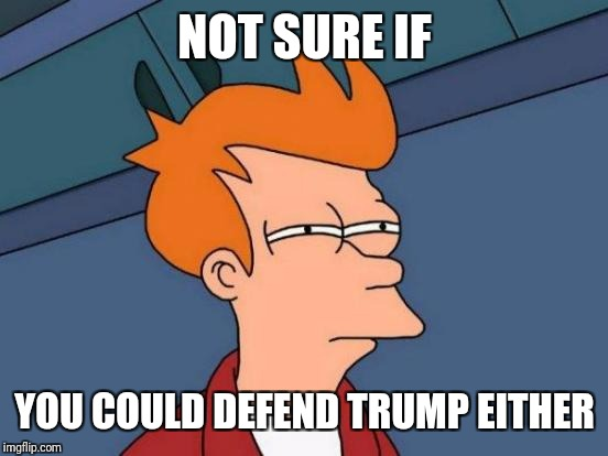 Futurama Fry Meme | NOT SURE IF YOU COULD DEFEND TRUMP EITHER | image tagged in memes,futurama fry | made w/ Imgflip meme maker