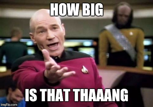 Picard Wtf Meme | HOW BIG IS THAT THAAANG | image tagged in memes,picard wtf | made w/ Imgflip meme maker