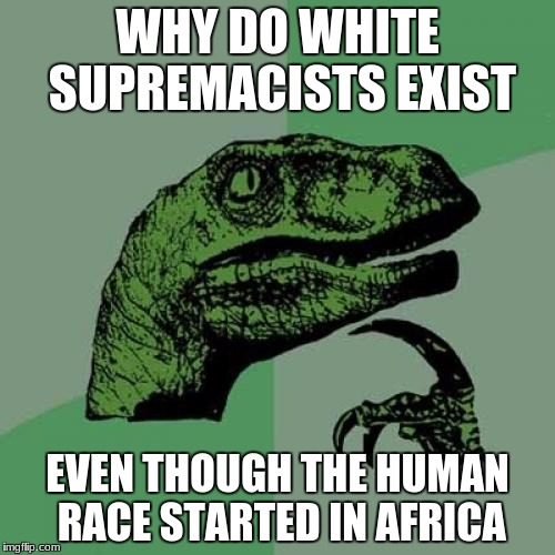 Genetically, we are related to Africans if we go back far enough.  | WHY DO WHITE SUPREMACISTS EXIST EVEN THOUGH THE HUMAN RACE STARTED IN AFRICA | image tagged in memes,philosoraptor,white supremacists,human race | made w/ Imgflip meme maker