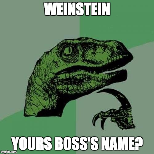 Philosoraptor Meme | WEINSTEIN YOURS BOSS'S NAME? | image tagged in memes,philosoraptor | made w/ Imgflip meme maker