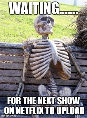 Waiting Skeleton Meme | WAITING....... FOR THE NEXT SHOW ON NETFLIX TO UPLOAD | image tagged in memes,waiting skeleton | made w/ Imgflip meme maker