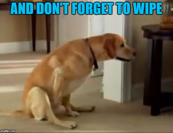 AND DON'T FORGET TO WIPE | made w/ Imgflip meme maker