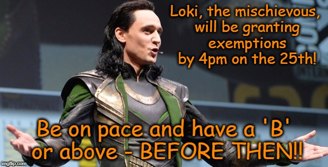 Loki, the mischievous, will be granting exemptions by 4pm on the 25th! Be on pace and have a 'B' or above - BEFORE THEN!! | image tagged in loki announcement | made w/ Imgflip meme maker