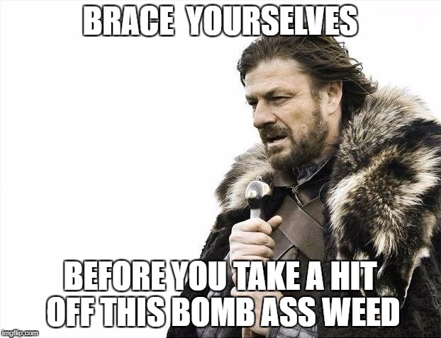 Brace Yourselves X is Coming Meme | BRACE  YOURSELVES BEFORE YOU TAKE A HIT OFF THIS BOMB ASS WEED | image tagged in memes,brace yourselves x is coming | made w/ Imgflip meme maker