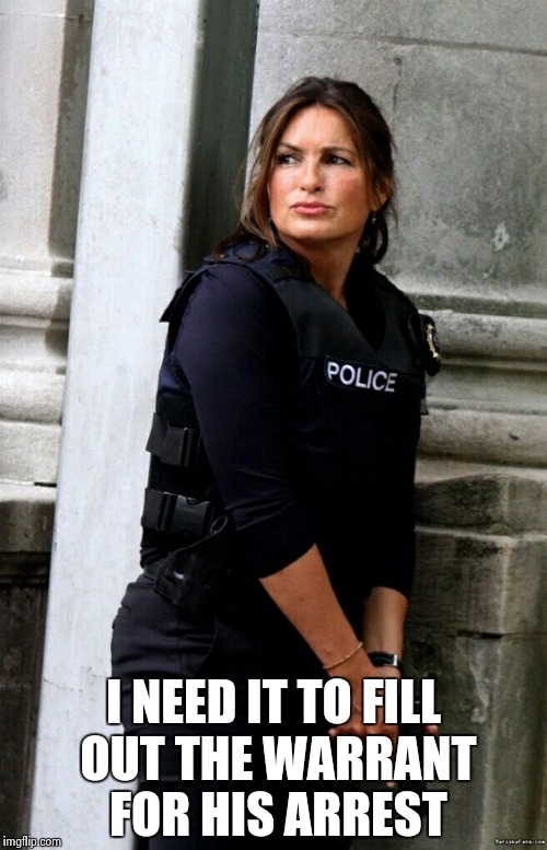 I NEED IT TO FILL OUT THE WARRANT FOR HIS ARREST | image tagged in mariska hargitay s | made w/ Imgflip meme maker
