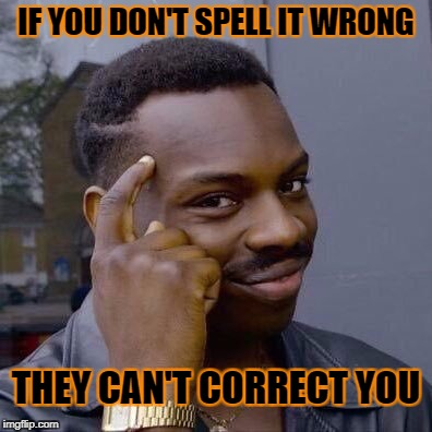IF YOU DON'T SPELL IT WRONG THEY CAN'T CORRECT YOU | made w/ Imgflip meme maker