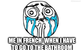 Crying Because Of Cute | ME IN FRENCH  WHEN I HAVE TO GO TO THE BATHROOM | image tagged in memes,crying because of cute | made w/ Imgflip meme maker