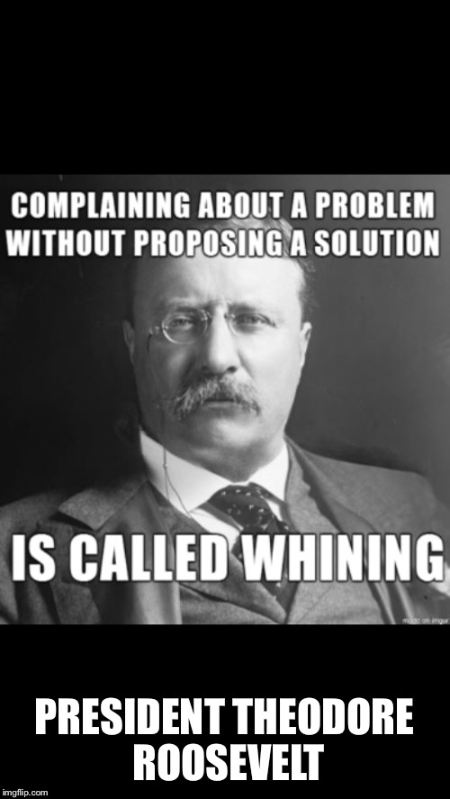 Protesting Class: Lesson 1 | PRESIDENT THEODORE ROOSEVELT | image tagged in memes,teddy roosevelt,whining,solutions,protest class,lesson 1 | made w/ Imgflip meme maker