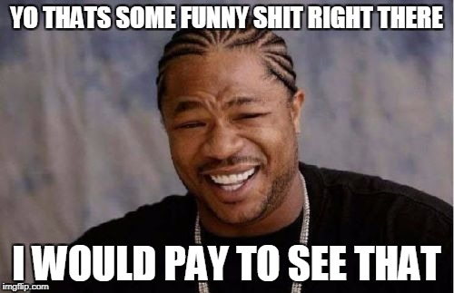 Yo Dawg Heard You Meme | YO THATS SOME FUNNY SHIT RIGHT THERE I WOULD PAY TO SEE THAT | image tagged in memes,yo dawg heard you | made w/ Imgflip meme maker
