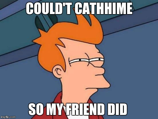 could't cathhime  | COULD'T CATHHIME SO MY FRIEND DID | image tagged in memes,futurama fry | made w/ Imgflip meme maker