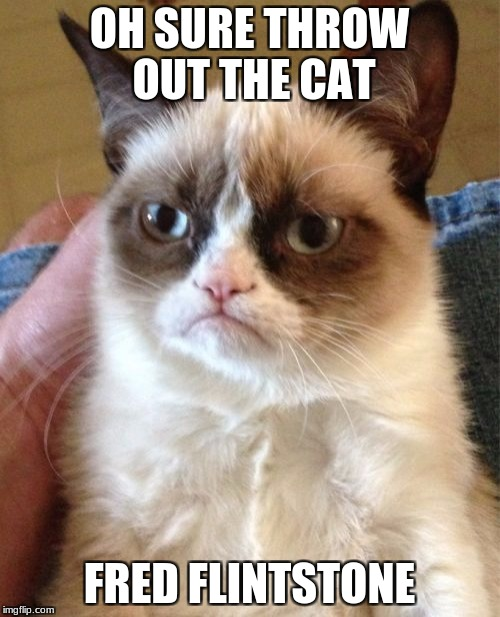 Grumpy Cat Meme | OH SURE THROW OUT THE CAT FRED FLINTSTONE | image tagged in memes,grumpy cat | made w/ Imgflip meme maker
