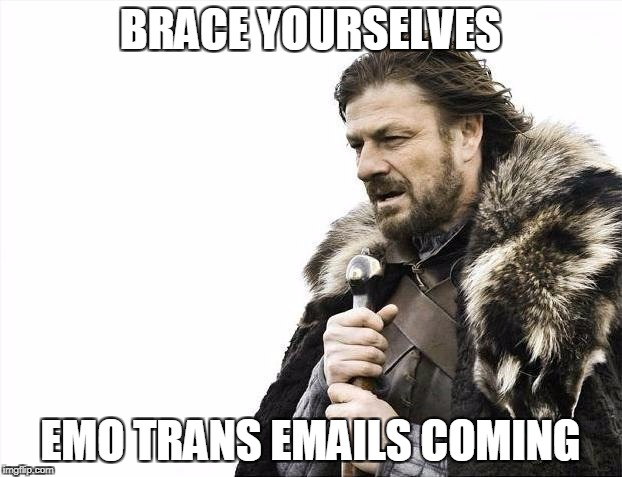 Brace Yourselves X is Coming Meme | BRACE YOURSELVES EMO TRANS EMAILS COMING | image tagged in memes,brace yourselves x is coming | made w/ Imgflip meme maker