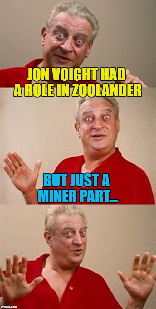 It was a role he really dug... :) | JON VOIGHT HAD A ROLE IN ZOOLANDER BUT JUST A MINER PART... | image tagged in bad pun dangerfield,memes,zoolander,jon voight,films | made w/ Imgflip meme maker