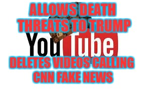 Liberal Hypocrisy | ALLOWS DEATH THREATS TO TRUMP DELETES VIDEOS CALLING CNN FAKE NEWS | image tagged in scumbag youtube,scumbag | made w/ Imgflip meme maker