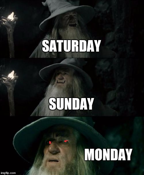 Confused Gandalf Meme | SATURDAY SUNDAY MONDAY | image tagged in memes,confused gandalf | made w/ Imgflip meme maker