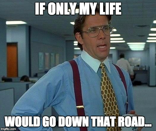 That Would Be Great Meme | IF ONLY MY LIFE WOULD GO DOWN THAT ROAD… | image tagged in memes,that would be great | made w/ Imgflip meme maker