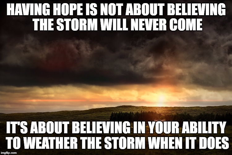 Having Hope | HAVING HOPE IS NOT ABOUT BELIEVING THE STORM WILL NEVER COME IT'S ABOUT BELIEVING IN YOUR ABILITY TO WEATHER THE STORM WHEN IT DOES | image tagged in hope,loss,storm,the future,inspiration,life | made w/ Imgflip meme maker