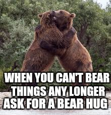 WHEN YOU CAN'T BEAR THINGS ANY LONGER ASK FOR A BEAR HUG | made w/ Imgflip meme maker