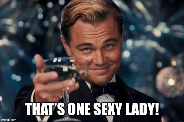 Leonardo Dicaprio Cheers Meme | THAT'S ONE SEXY LADY! | image tagged in memes,leonardo dicaprio cheers | made w/ Imgflip meme maker