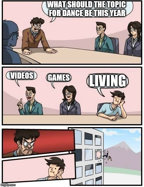 Boardroom Meeting Suggestion Meme | WHAT SHOULD THE TOPIC FOR DANCE BE THIS YEAR VIDEOS GAMES LIVING | image tagged in memes,boardroom meeting suggestion | made w/ Imgflip meme maker