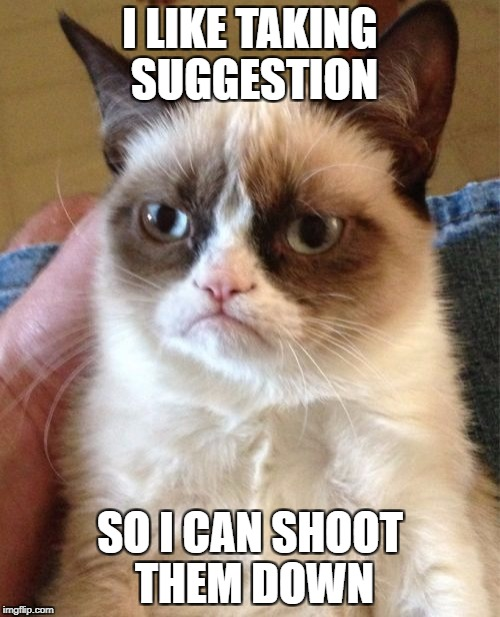 Grumpy Cat Meme | I LIKE TAKING SUGGESTION SO I CAN SHOOT THEM DOWN | image tagged in memes,grumpy cat | made w/ Imgflip meme maker