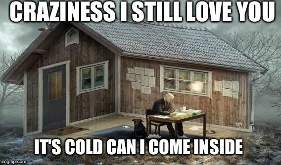 CRAZINESS I STILL LOVE YOU IT'S COLD CAN I COME INSIDE | made w/ Imgflip meme maker