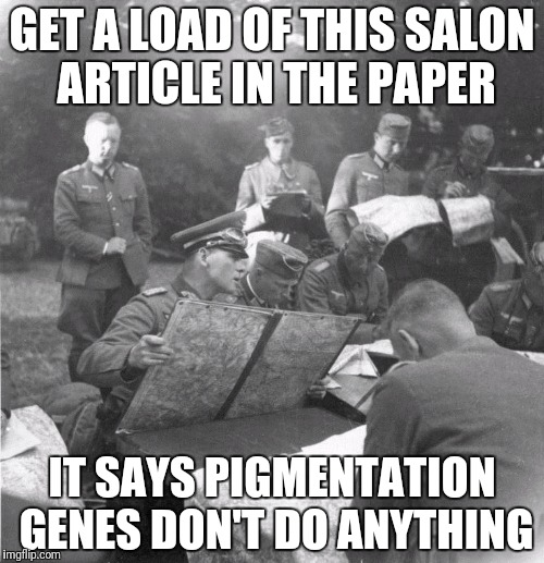 GET A LOAD OF THIS SALON ARTICLE IN THE PAPER IT SAYS PIGMENTATION GENES DON'T DO ANYTHING | made w/ Imgflip meme maker