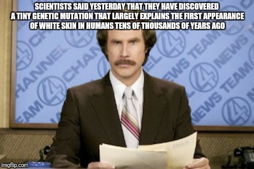 Ron Burgundy Meme | SCIENTISTS SAID YESTERDAY THAT THEY HAVE DISCOVERED A TINY GENETIC MUTATION THAT LARGELY EXPLAINS THE FIRST APPEARANCE OF WHITE SKIN IN HUMA | image tagged in memes,ron burgundy | made w/ Imgflip meme maker