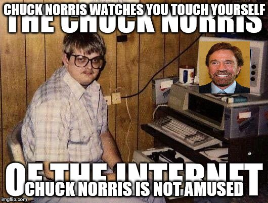 CHUCK NORRIS WATCHES YOU TOUCH YOURSELF CHUCK NORRIS IS NOT AMUSED | made w/ Imgflip meme maker
